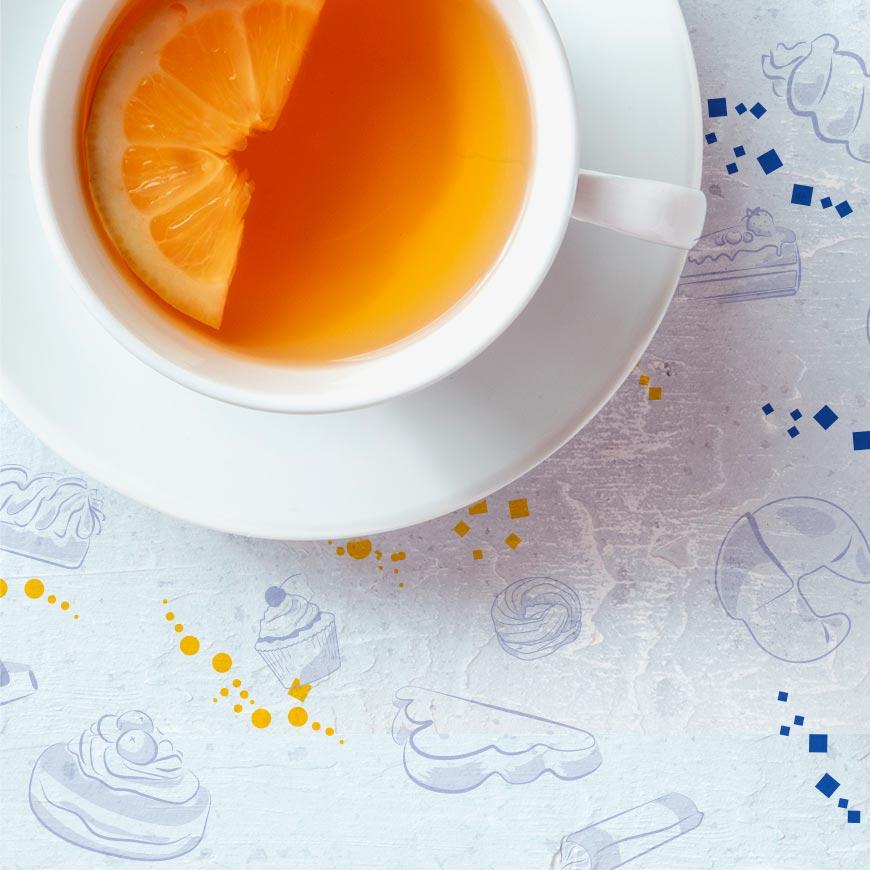 Čaj na pozadí ilustrace