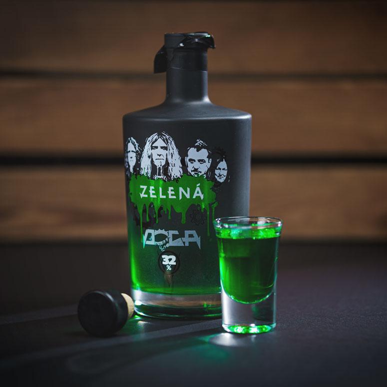 DOGA Zelená, potisk láhve pro rockovou kapelu